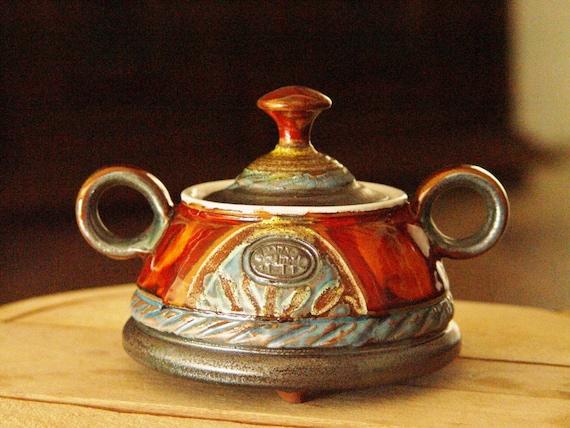 Pottery Sugar bowl, Ceramic bowl. Sugar basin, Clay sugar bowl, Sugar box, Coffee set, Sugar keeper, Red sugar bowl, Danko