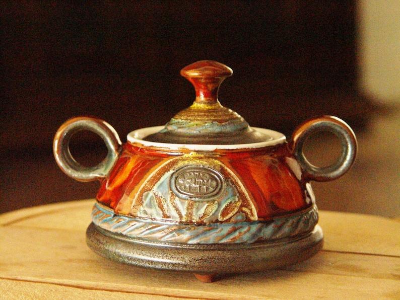 Pottery Sugar bowl Ceramic bowl. Sugar basin Clay sugar image 0