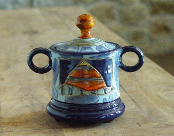 Ceramic Sugar Bowl with Lid, Pottery Sugar Bowl. Handmade Clay Sugar Bowl, Sugar Box, Sugar Keeper, Blue and Orange Sugar Bowl