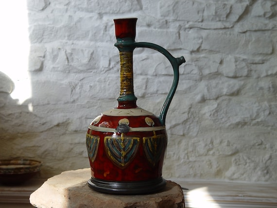 Colorful Handmade Ceramic Decanter, Decorative Pottery, Clay Art