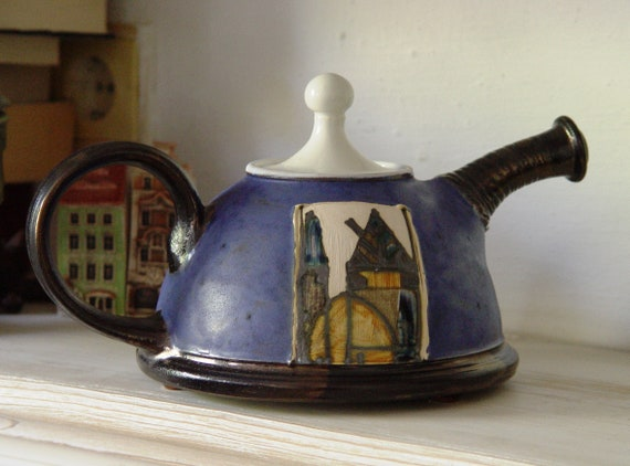 Blue Pottery Teapot - Handmade Ceramic Tea Maker - Ceramics and Pottery - Arts and Crafts - Ceramic Art - Danko Pottery - Wedding Gift