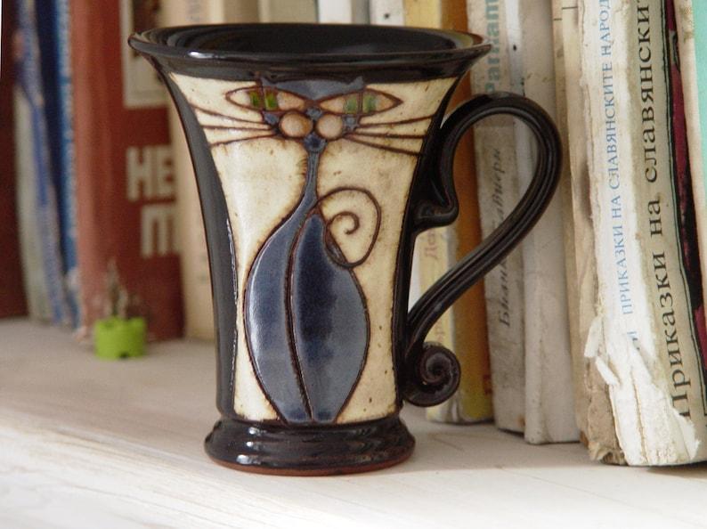 Funny Mug Handmade Cat Mug Pottery Mug Artistic Ceramic image 0