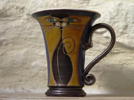 Cat Mug, Ceramic Coffee Mug, Tea Cup, Wheel thrown Hand Painted Pottery Mug, Cute Cat Mug, Animal Mug, Clay Mug, Danko Pottery