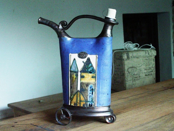 Blue Decorative Ceramic Vessel with Wrought Iron Elements, Rustic Home Decor, Kitchen Decoration
