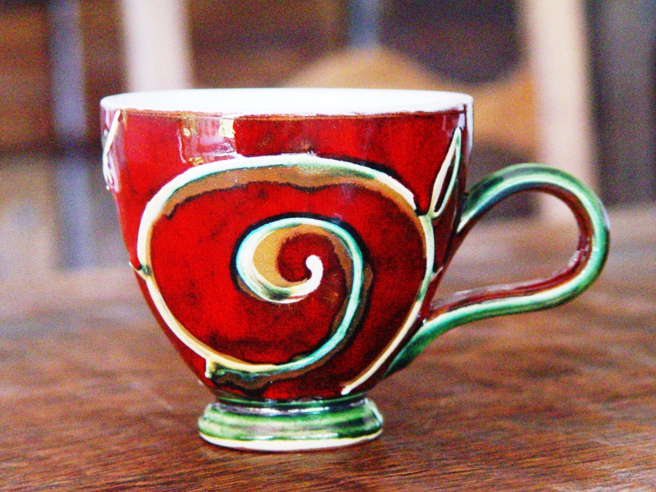 Red And Green Pottery Coffee Mug Handmade Ceramic Cup Unique Cute Teacup Danko Pottery Ceramic Fun Gift Artistic Pottery