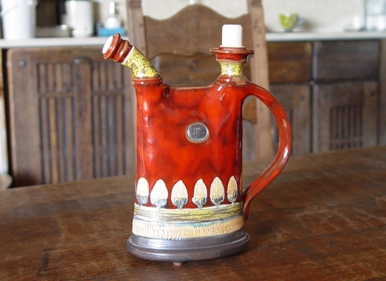 Red Pottery Pitcher Decorative Ceramic Teapot Handmade Clay image 0