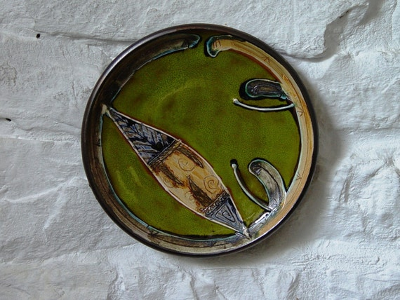 Pottery Wall Decor, Green Ceramic Plate, Wheel Thrown Hand Painted Pottery, Mantlepiece Decor, Unique Art Pottery, Danko Ceramics