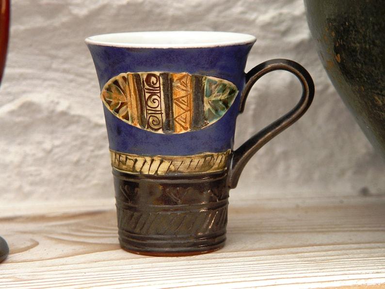 Blue Pottery Coffee or Tea Mug Unique Earthen Mug Ceramic image 0