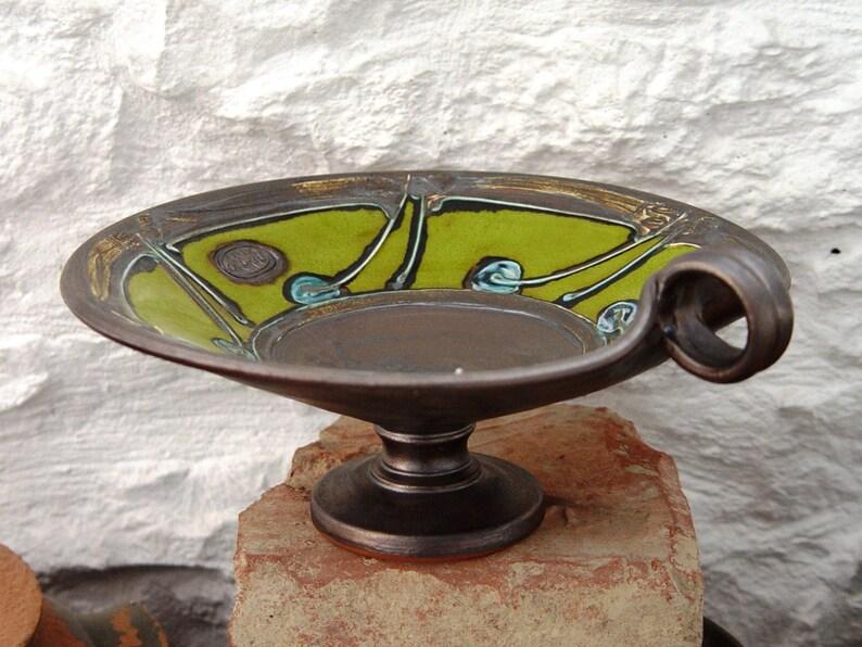 Wheel Thrown Green Pottery Fruit Bowl Wedding Gift Iron image 0