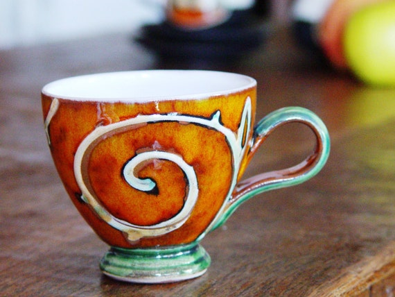 Orange Handmade Pottery Cup - Ceramic Mug for Coffee or Tea - Earthen Mug - Espresso Cup - Wheel Thrown Pottery - Danko