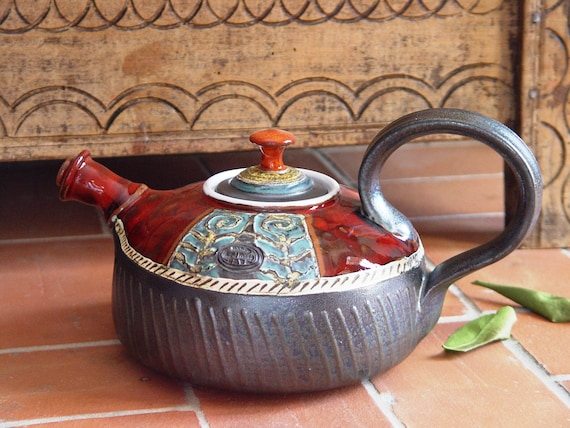 Red Pottery Teapot with Handpainted Roses - Fine Art Tea Pot - Tea Set - Table Decor - Tea Lovers' Gift -  Ceramic Teapot - Danko