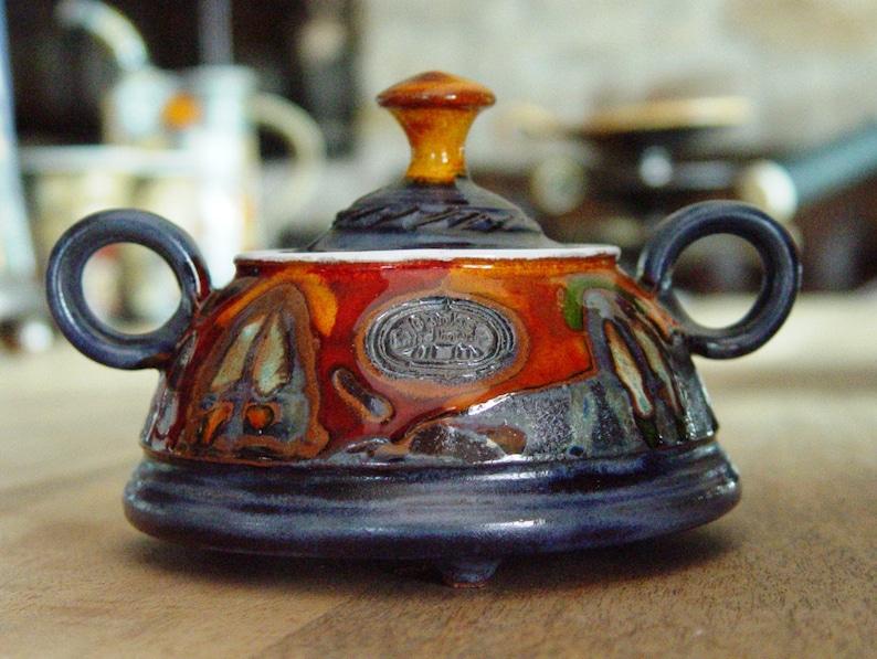 Pottery Sugar Bowl. Ceramic Bowl Sugar Box with lid Clay image 0