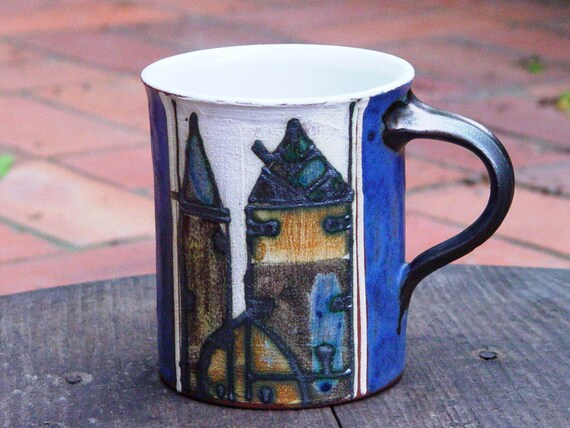 Wheel thrown Coffee or Tea Mug, Handmade Blue Mug with Unique Decoration, Hand Painted Mug, Ceramic Mug, Danko Pottery, Cute gift