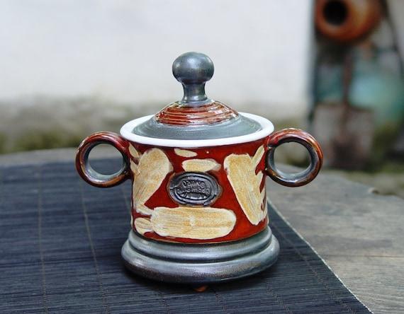 Pottery Sugar Bowl, Ceramics and Pottery, Clay sugar bowl, Ceramic sugar bowl, Sugar box, Tea set, Sugar keeper, Red sugar bowl