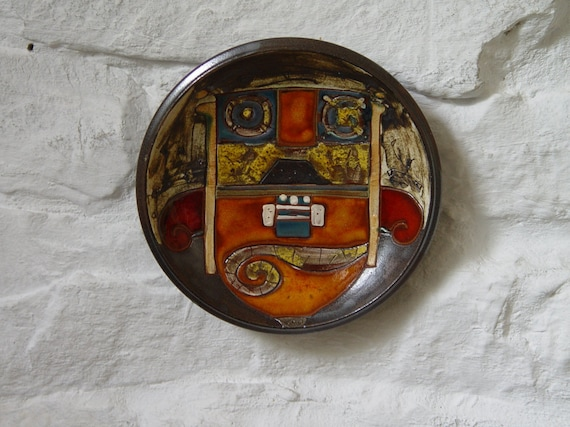 Colorful Pottery Plate, Wall Hanging Ceramic Plate, Unique Home Decor, Fireplace Decor, Wheel Thrown Pottery, Danko Pottery