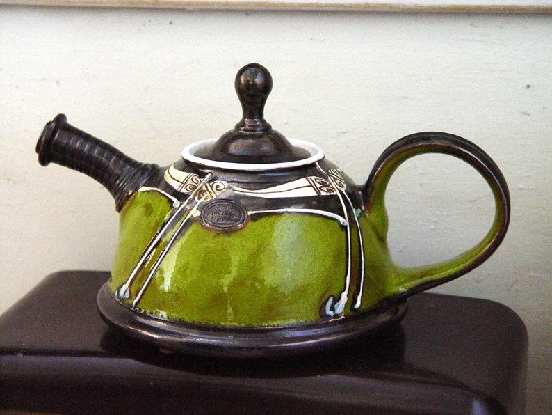 Wheel Thrown Green Pottery Teapot  Impressive Gift  Ceramic image 0