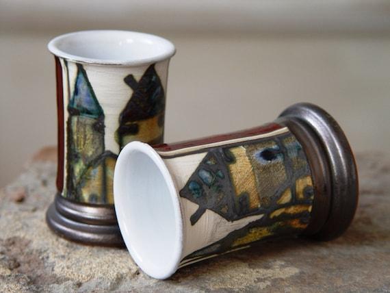 Small Red Pottery Mug, Liquor Mug, Pottery tumbler, Gift for Dad, Ceramic souvenir, Tequila Shot, Unique Brandy Mug, Artistic Pottery Mug