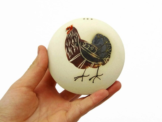 Salt and Pepper, Stoneware Salt shaker, Salt Cellar, Pepper cellar, Pottery Hand painted Salt Shaker with a painting of a rooster, Danko