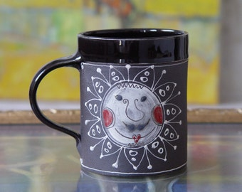 Large Stoneware Mug, Pottery Coffee Mug, Ceramic Tea Mug, Handmade Mug, Black Hand Painted Mug, Wheel Thrown Mug with a Drawing of a Sun