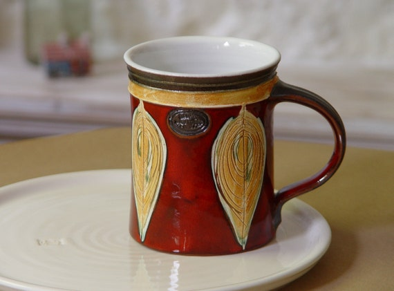 Large Pottery Mug - Handmade Red Ceramic Mug - 18-ounce Mug - Artistic and Functional Gift - Pottery Mugs Handmade - Danko