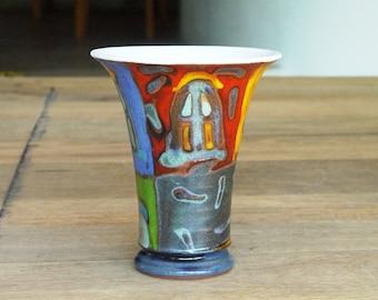 Handmade Ceramic Wine or Water Goblet, Pottery Mug with Unique Hand Painted Decoration, Colorful Mug, Wine Mug, Water Mug