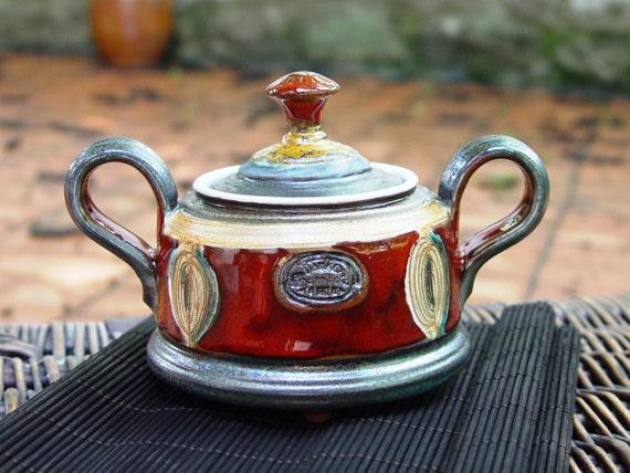 Sugar Bowl, Ceramic Sugar Bowl. Pottery Sugar Bowl, Sugar Bowl with Lid, Sugar box, Coffee set, Sugar keeper, Red sugar bowl