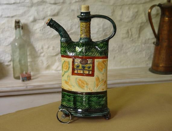 Ceramic Pitcher with Decorative Iron Wheels - Pottery Decor - Ornamental Teapot - Home Decor - Green Pottery - Handmade Pottery - Danko