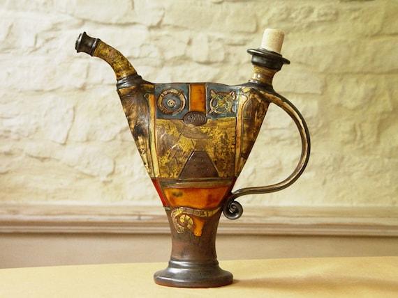Unique Wheel Thrown Pottery Pitcher, Home Decor, Ceramic Decanter, Water pitcher, Pottery bottle, Ceramic art, Danko Pottery