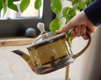Glazed Hand Painted Stoneware Teapot - Ceramic Pot for Serving Tea - Beetle Kettle -  Unique and Durable Pottery - Danko Ceramics - Clay Art