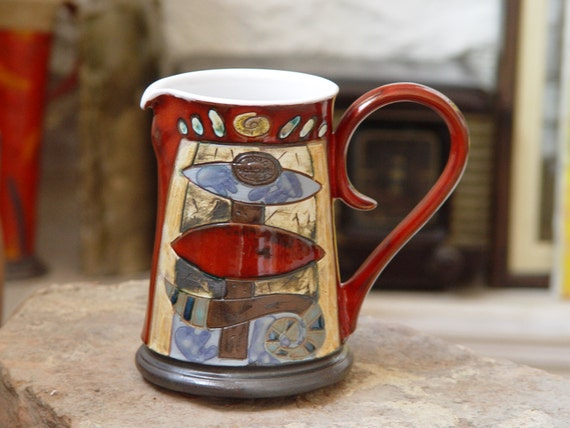Red Pottery Pitcher. Water Pitcher, Wheel Thrown pitcher, Ceramic Vase, Clay pitcher, Milk Jug, Middle Sized Ewer, Danko Art Pottery