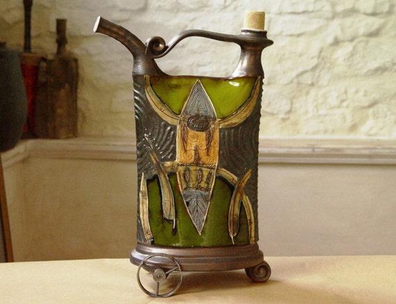 Decorative Ceramic Vessel with Iron Elements, Rustic Home Decor, Green Kitchen Decoration, Living Room Decor, Danko Pottery