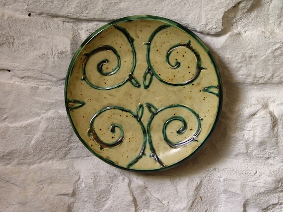 Earthen Wall Hanging Plate, Ceramic Wall Decor, Wheel Thrown Pottery Plate with Floral Decoration, Fireplace Decor, Unique Art Pottery
