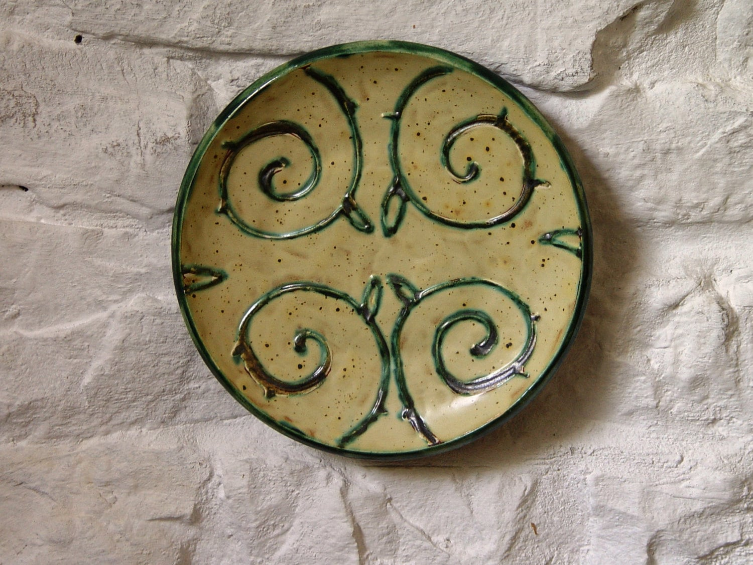 Earthen Wall Hanging Plate Ceramic Wall Decor Wheel Thrown Pottery