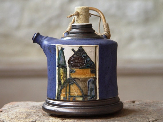 Unique Blue Pottery Pitcher with Natural Wicker Handle, Ceramic Bottle, Wall Hanging Clay Pot, Gift for dad, Danko Pottery, Artistic Pots