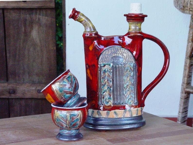 Ceramic set  Pitcher and Mugs Pottery Bottle Water Jug image 0