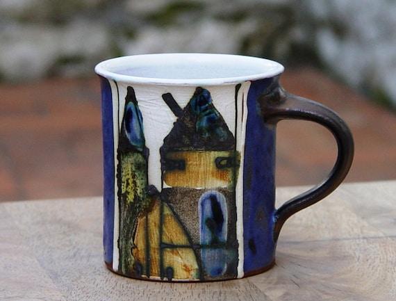Pottery Coffee Mug - Small Espresso Mug - Cute Cup with Unique Hand Painted Decoration - Fun Mug - Unique Coffee Cup