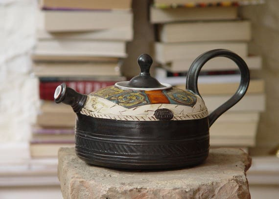 Handmade Pottery Teapot - Ceramic Tea Kettle - Earthen Tea Pot - Wheel Thrown Hand Painted Pot - Tea Maker - Functional Designer Pottery