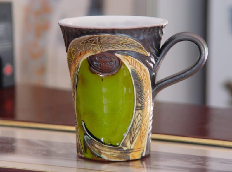 Green Pottery Mug  Colorful Handmade Coffee Mug   Wheel image 0