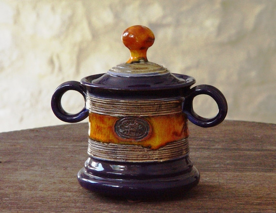 Handmade Sugar bowl, Ceramics and Pottery Sugar Bowl with Lid, Sugar box, Sugar Cellar, Tea Set, Sugar Keeper, Blue and Orange Sugar Bowl