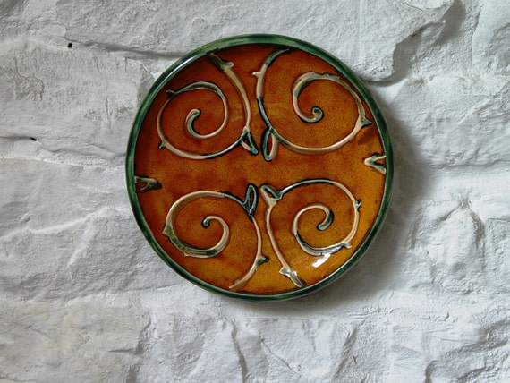 Orange Wall Hanging Plate, Ceramic Wall Decor, Wheel Thrown Hand Painted Pottery Tray, Fireplace Decor, Unique Art Pottery, Danko Ceramics