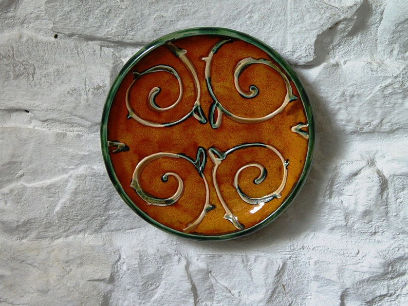 Orange Wall Hanging Plate Ceramic Wall Decor Wheel Thrown image 0