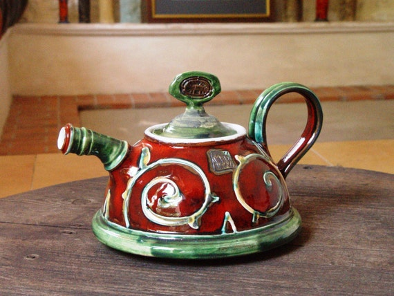 Pottery Teapot with Red and Green Hand Painted Decoration and Floral Elements, Ceramic Tea Pot, Art Pottery, Ceramic art, Danko Pottery