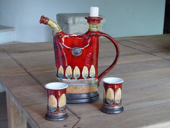 Pottery Drink Set - Pitcher and Mugs, Ceramic Bottle for Liquor or Water, Ceramic Set, Pottery Mugs, Pottery Handmade