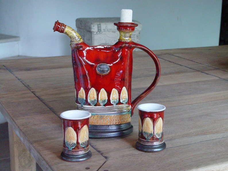 Pottery Drink Set  Pitcher and Mugs Ceramic Bottle for image 0