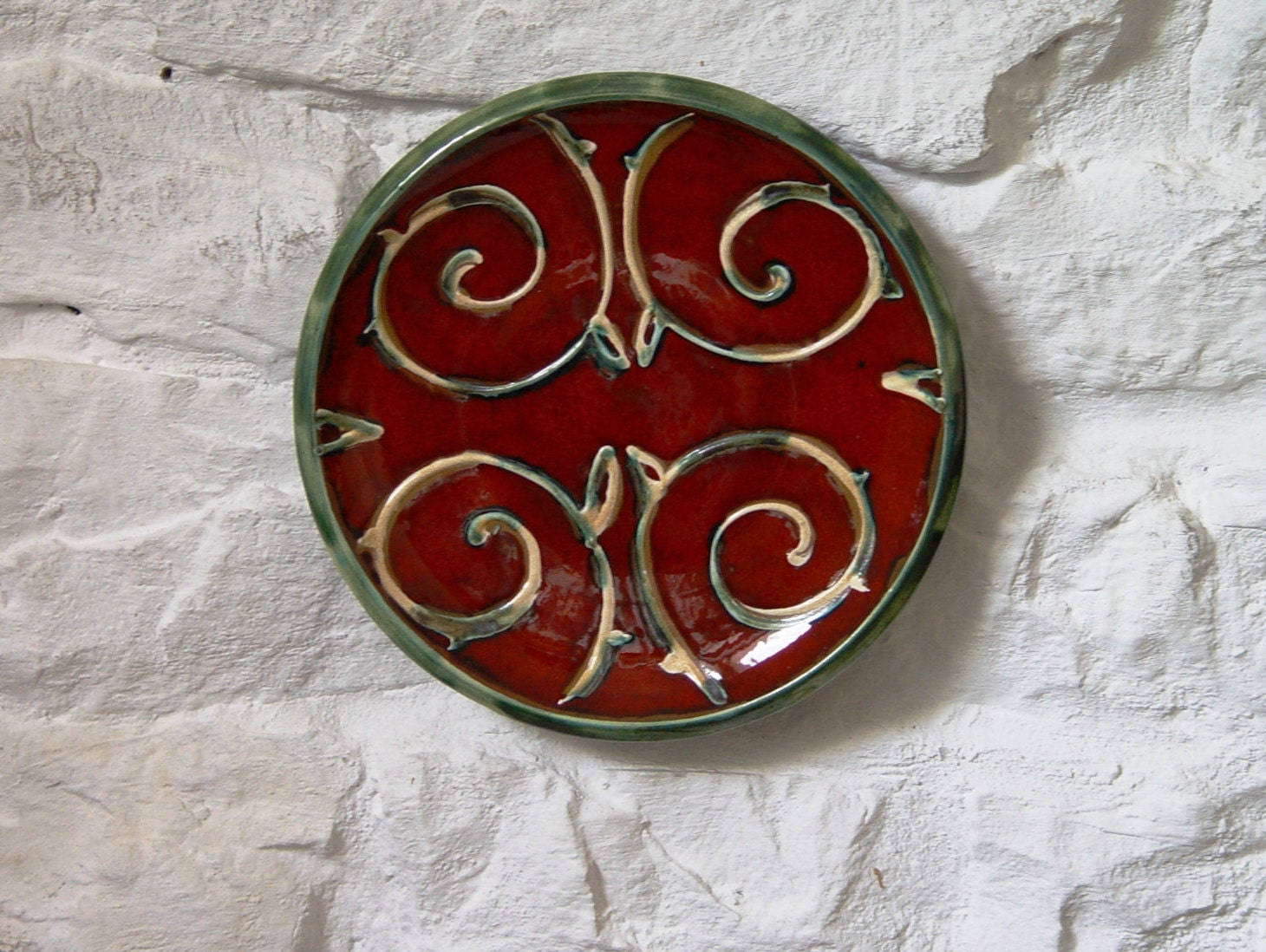 Red Wall Hanging Plate Pottery Wall Decor Wheel Thrown Ceramic