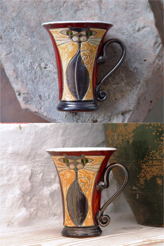 Pottery Coffee Mug, Cat Mug, Red Mug with Unique Hand Painted Decoration, Wheel Thrown Mug, Cute Mug, Cat Lover's Mug, Artistic Teacup