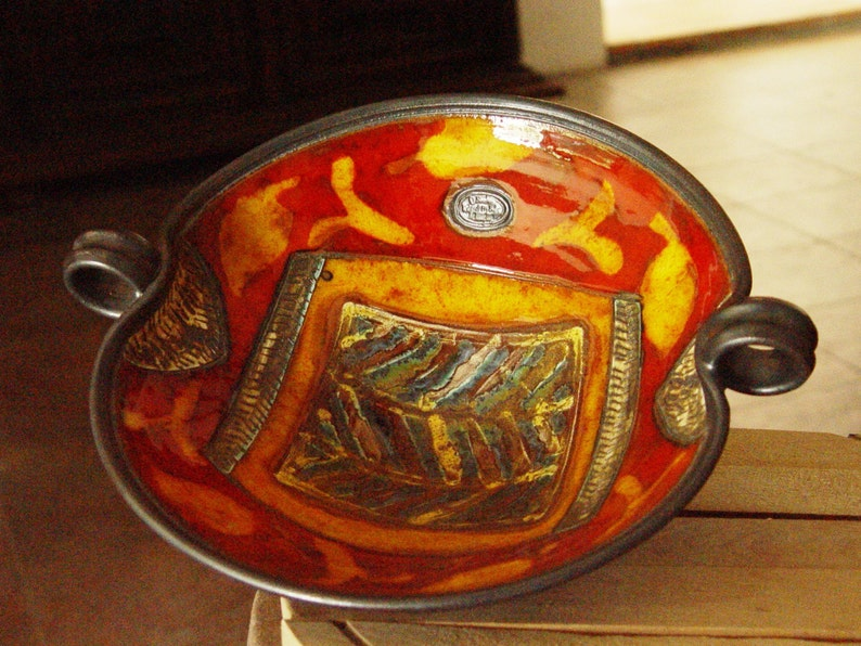 Pottery Fruit Bowl with Hand Painted Decoration. Ceramic Fruit image 0