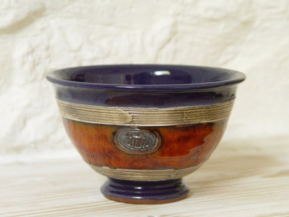 Blue and Orange Bowl, Wheel Thrown Ceramic Bowl for Soup, Cereal, Salad, Ice Cream, Fruit, Candy, Nuts, Rice, Yogurt, Gravy, Sugar, etc.
