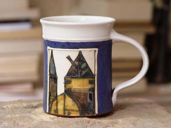 Large Coffee Mug, 16 oz Pottery Mug, Ceramic Mug, Tea Mug, Unique Mug, Handmade Mug, Wheel Thrown Mug, Danko Pottery