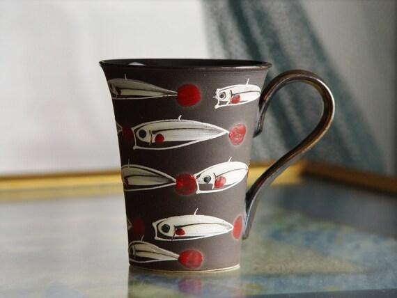 Stoneware Fish Mug, Black Pottery Coffee Cup, Handmade Tea Cup, Hand Painted Mug, Wheel Thrown Strong and Durable Mug, Danko Pottery